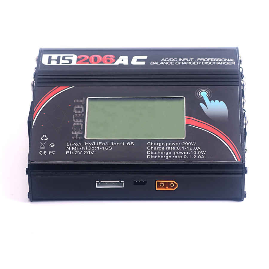 HS 206AC 200W 12A High Power Balance Charger Discharger Touch Screen for RC Helicopter Aircraft Intelligent Battery Charger wholesale 1pcs aok bc168 1 6s 8a 200w super speed lcd intellective balance charger discharger rc helicopter part