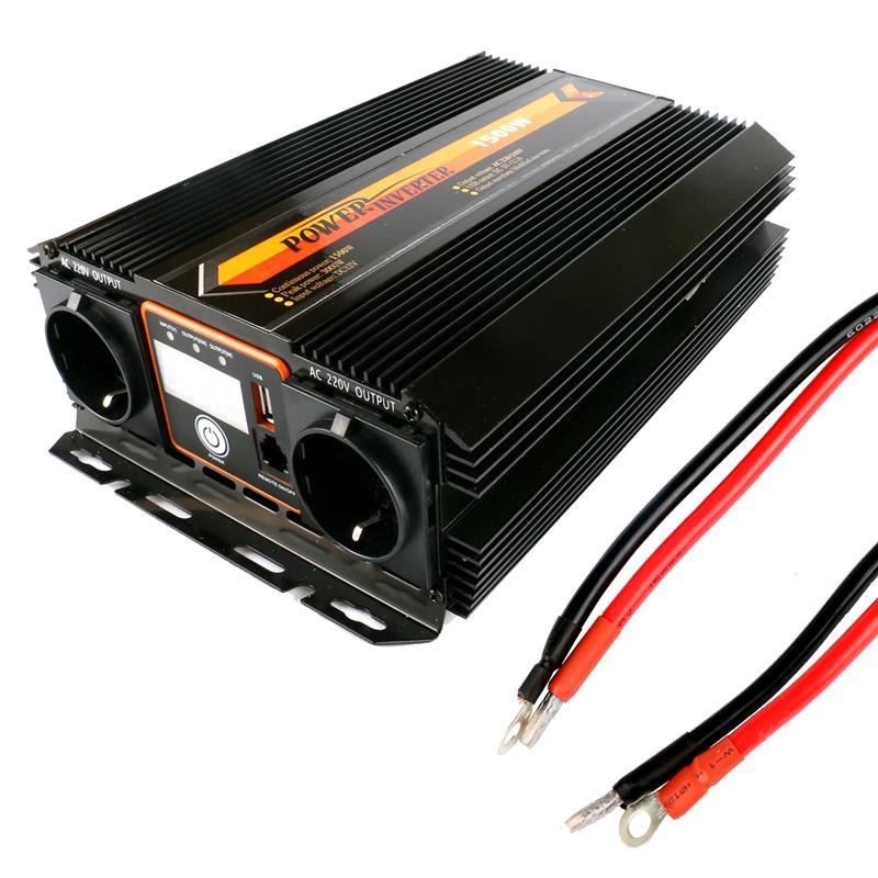 Onduleur convertisseur 1500 w Pleine Puissance Onduleur DC 12 v à AC 220 v Convertisseur avec 5 v/2.4A double USB Chargeur prise de Courant Allemand avec Fusible