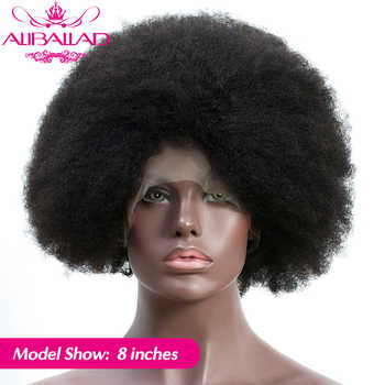 Short Afro Kinky Curly 13*4 Lace Front Human Hair Wigs Glueless Brazilian Remy Frontal Wig For Black Women 4C/4B Curl ALIBALLAD - DISCOUNT ITEM  41% OFF All Category