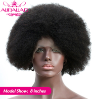 Short Afro Kinky Curly Lace Front Human Hair Wigs Full End Glueless Brazilian Wigs For Black Women Remy 4C/4B Curl ALIBALLAD