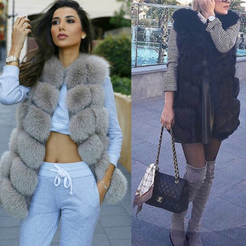 Ethel Anderson Winter 6Rows Imported Finland Real Fox Fur Vest Natural Fox Fur Gilet Women Covered Jacket Coat Plus Size Outwear image