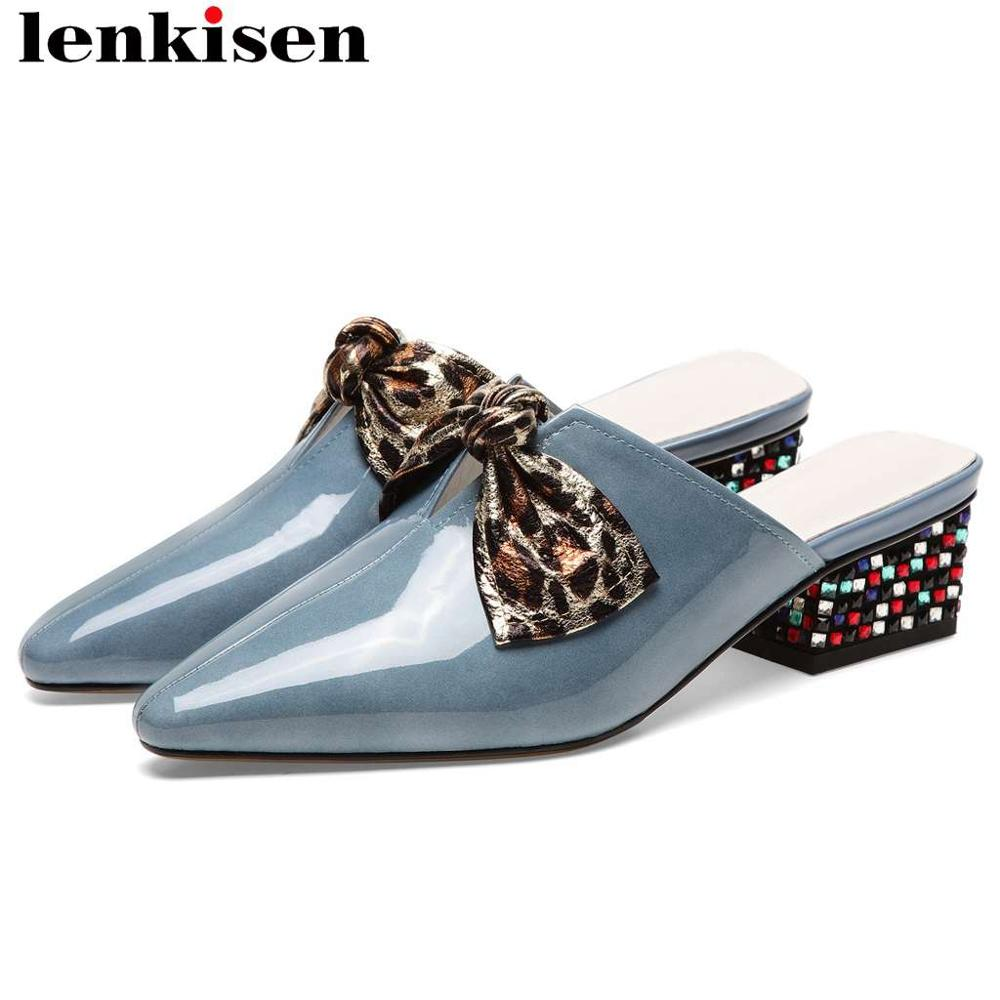 Lenkisen cow leather slip on mules leopard butterfly-knot decoration colorful crystals decoration pointed toe big size shoes L02Lenkisen cow leather slip on mules leopard butterfly-knot decoration colorful crystals decoration pointed toe big size shoes L02