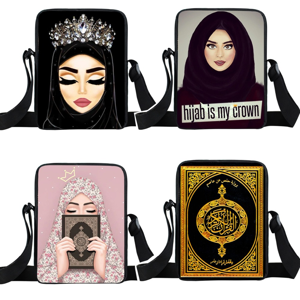 Hijab Face Muslim Islamic Gril Eyes Print Small Shoulder Bag Women Handbag Casual Totes Teenager Girls Crossbody Bags Bookbag