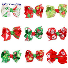 VOT7 vestitiy 2017 Wholesale price 8cmBaby Girls Christmas Ornaments Bowknot Hairpin 8cm Headdress Festival gift Oct 12