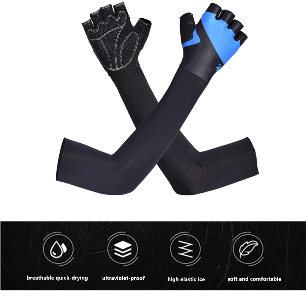 Ice Silk Sun Protection Gloves Arm Sleeves Hand Protector Anti-UV Skin for Outdoor Sport Cycling Training Gloves for Summer(China)