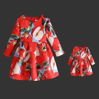 Family Look Fashion Mom and girl dress Mother daughter dress children Clothes jacquard print full sleeve Family Matching Outfits