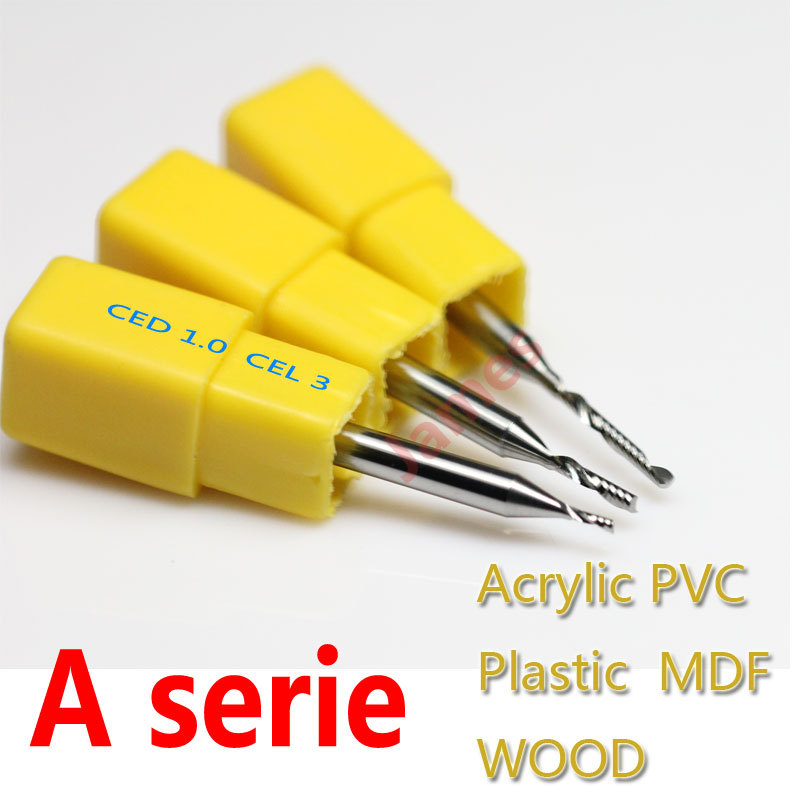 3pcs 3.175*1.0*3mm A Series One Flute Spiral Acrylic CUTTING End Milling Cutter Tungsten Cutting Tools HUHAO