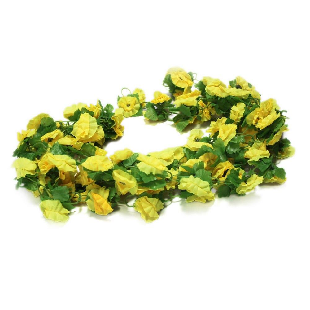 Hot sale fake yellow flowers artificial leaf vine wall home wedding aeproduct mightylinksfo