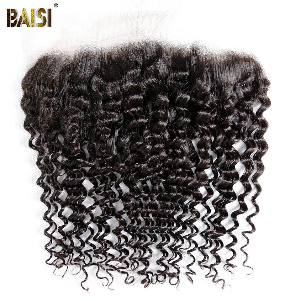 BAISI Hair Brazilian Hair Deep Wave Virgin Hair 13x6 Transparent Lace Frontal