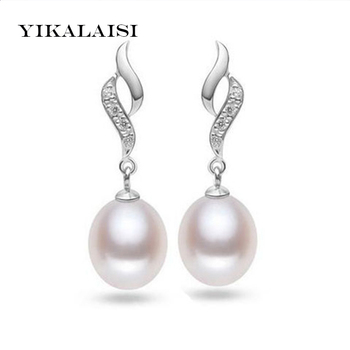 YIKALAISI 925 Sterling Silver Jewelry Natural Freshwater Pearl jewelry long Earrings 8-9 MM Pearl White/Pink/Purple Colors image