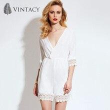 Vintacy женская кружева белый комбинезоны короткие Комбинезоны ПР хорошее качество белый мода Комбинезоны половины рукав блудниц Комбинезон