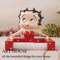 Creative Ceramic Cartoon toilet paper holder home decor craft room decoration porcelain Cartoon Betty figurine handicraft