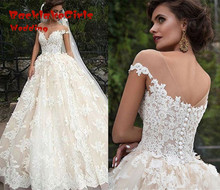 Hot Sale New White Lace Weeding Dresses 2017 Elegant Appliques Long Ball Gown Wedding Gowns Custom made Tulle vestido de noiva