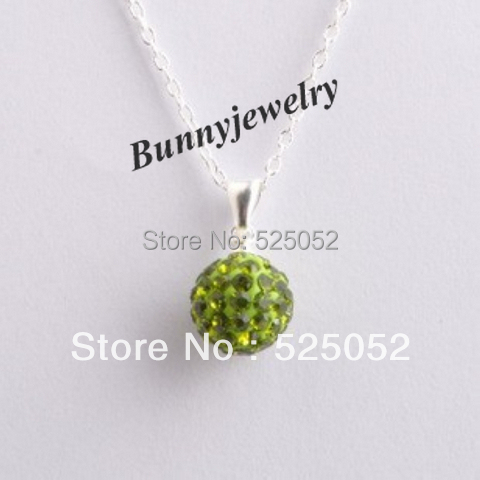 """Min.order is $10 Free Shipping Olive Green Micro Pave CZ Disco Ball Necklace 18"""" Silver Plate Chain Shamballa Necklace"""