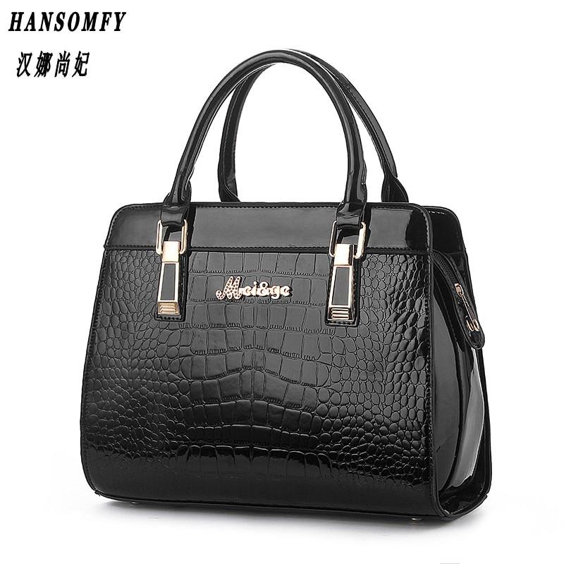 100% Genuine leather Women handbags 2018 New Crocodile Fashion Shoulder Bags European style atmosphere woman Messenger bag