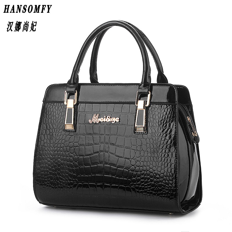 100% Genuine leather Women handbags 2018 New Crocodile Fashion Shoulder Bags European style atmosphere woman Messenger bag