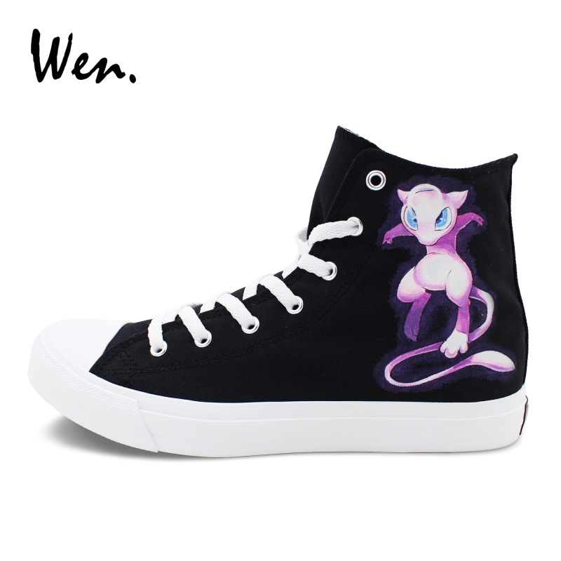 Wen Custom Design Pokemon Shoes Hand Painted Mewtwo Mew Anime Sneakers Canvas High Top Flat Plimsolls Athletic Shoe boys girls converse all star hand painted shoes women men shoes pokemon go charizard design high top canvas sneakers