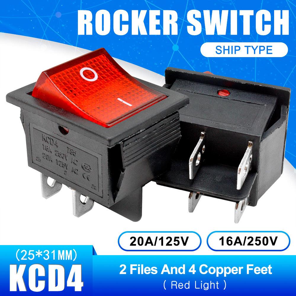 KCD4 Кулисный Переключатель Кнопка ВКЛ/ВЫКЛ 2 Позиции 4 штырей, 6pins, электротехническое оборудование с светильник Мощность переключатель 16A 250VAC AC 250V - Цвет: Red with Light