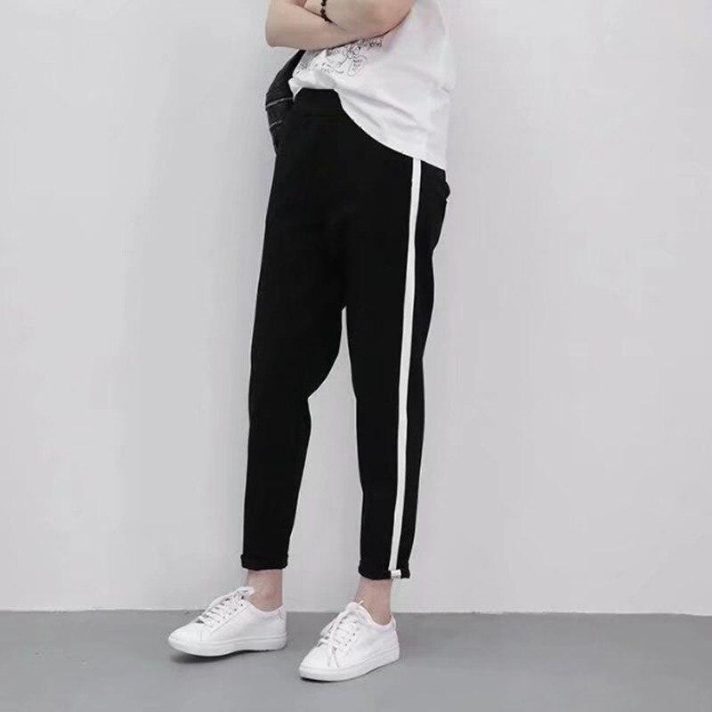 2018 Новинка весны модные женские туфли белые полосы отделкой Брюки Повседневное эластичный пояс карандаш брюки, спортивная одежда
