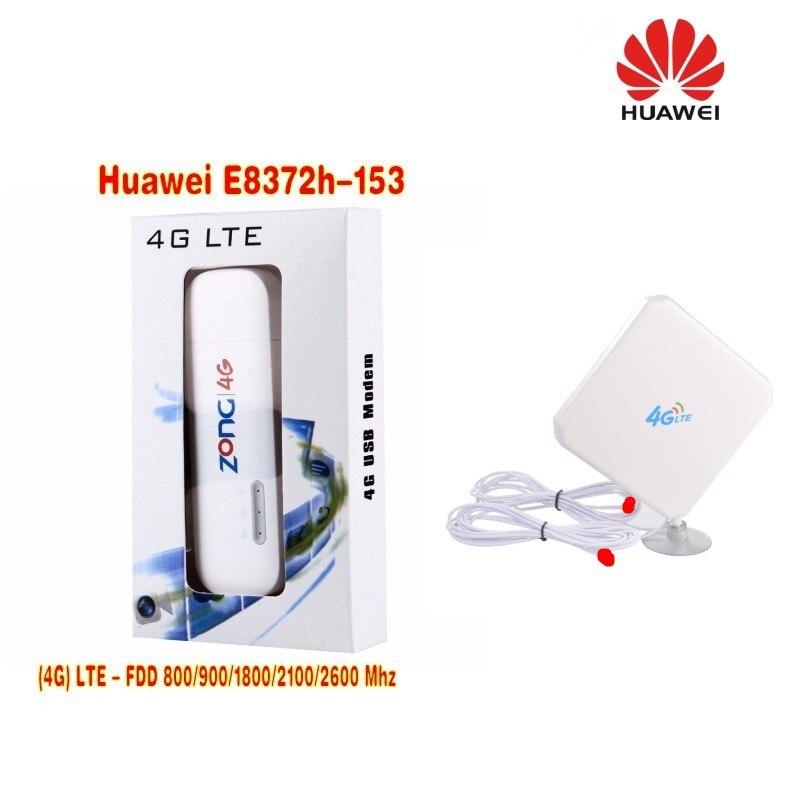 HUAWEI E8372h-153 LTE Car WLAN Hotspot Stick BOLT Unlocked in box 4G TS9 35dbi dual antenna