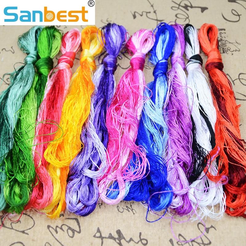De alta calidad 30/50/100 madejas bordado de seda bordado de hilo de seda bordado hecho a mano tejido de hilos DIY TH00031