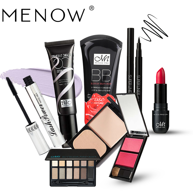 MENOW Make Up Set Include (Eye Shadow Blush Lipstick Mascara  Eyeliner  BB Cream  Foundation  CC Cream) Pro-Cosmetics ZA01/B 24 checks acrylic clear crystal lipstick eyeliner mascara cream nail enamel bottle display promotion holder stands on desk 1pc