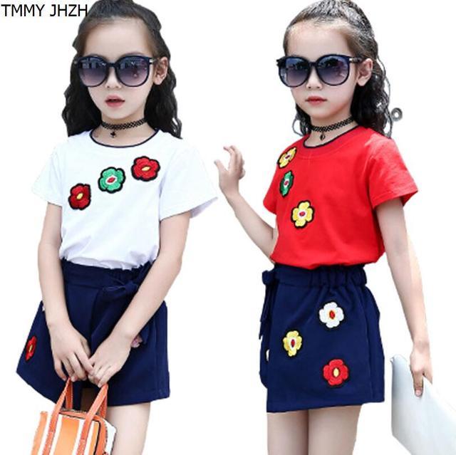 73a354bd0 € 8.74 25% de DESCUENTO Ropa de bebé niña, 2019 nuevo estilo de verano  Floral Flor de los niños de manga chaleco ropa pantalones cortos traje de  ...