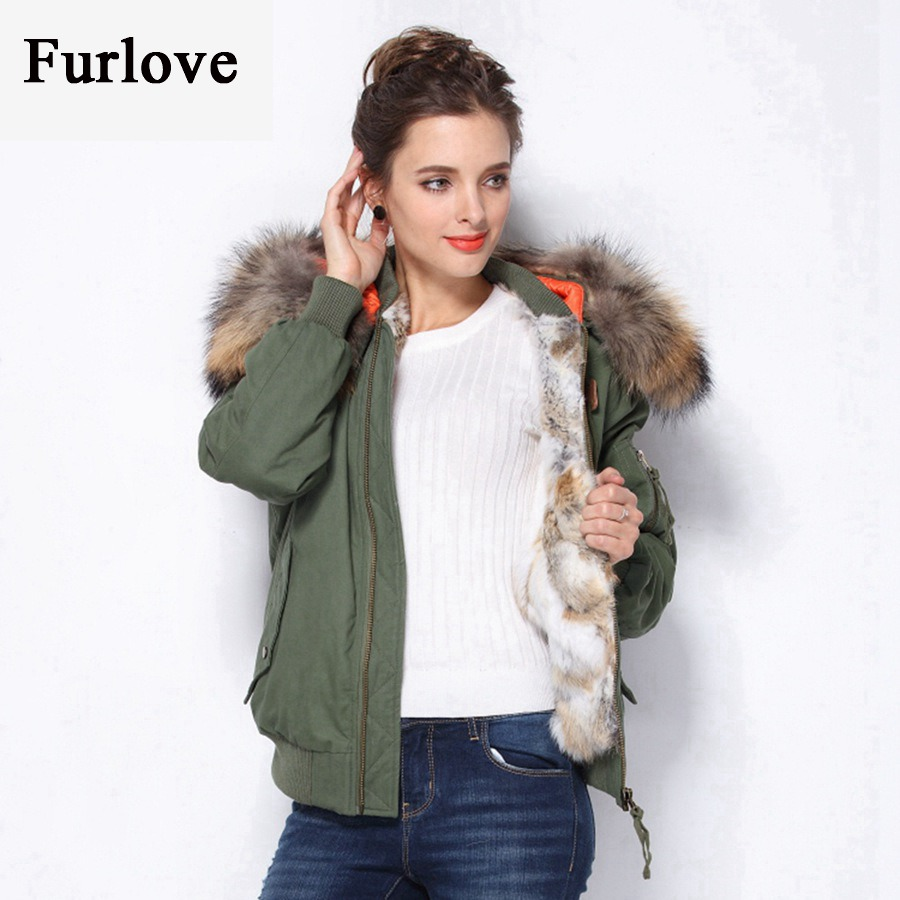 Winter Coat Women Raccoon Fur Collar Hooded Jackets Real Rabbit Fur Coats Thick Warm Army Green Ma-1 Flight Pilot Bomber jacket 2017 winter new clothes to overcome the coat of women in the long reed rabbit hair fur fur coat fox raccoon fur collar