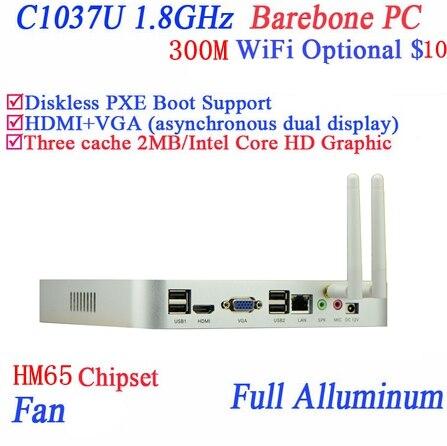 Real Power Faction Mini Pc  Celeron C1037U Aluminum Fan Dual Core Living Room HTPC Barebone Mini Pc With USB *4 HDMI RJ45
