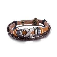 New Design Handmade Vintage Cross Shape Beads Handmade Woven Elegant Leather Bracelet Bangle For Women Men Jewelry 2017