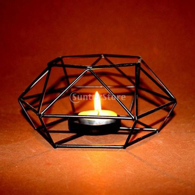 0af832967a 3D Iron Wire Hollow Geometric Lantern Candle Holder Candelabras Candlestick  Mood Tea Light Wedding Party Decor