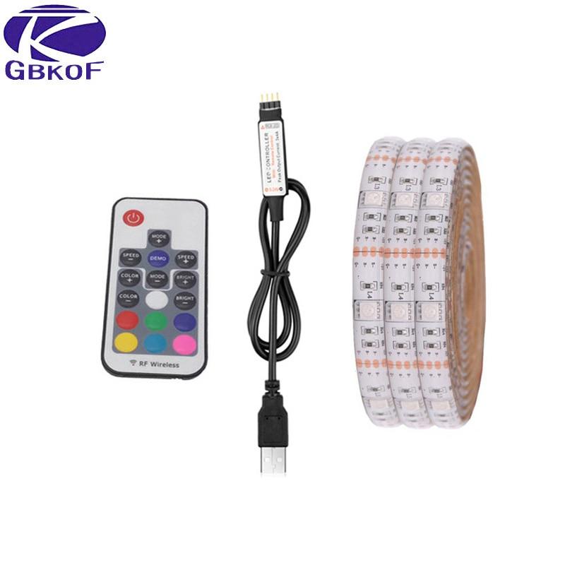GBKOF IP20 / IP65 50cm 1m 2m DC 5V RGB Flexible USB led strip light 5050 SMD sting Ribbon Adhesive tape TV Background lighting