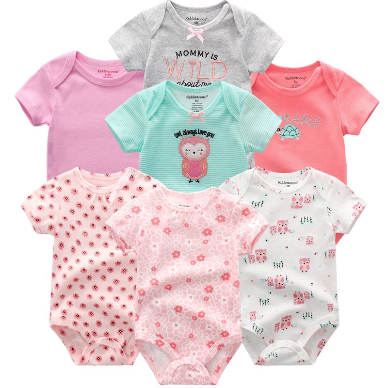 HTB1RmOfaOHrK1Rjy0Flq6AsaFXaS Top Quality 7PCS/LOT Baby Boys Girls Clothes 2019 Fashion Roupas de bebe Clothing Newborn rompers Overall baby girl jumpsuit