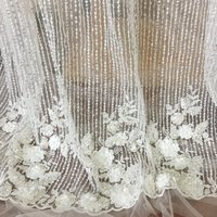 1 Yard Haute Couture 3D Heavily Beaded Sequin Bridal Lace Fabric , Line Tulle Embroidery Wedding Gown Bridal Dress Lace