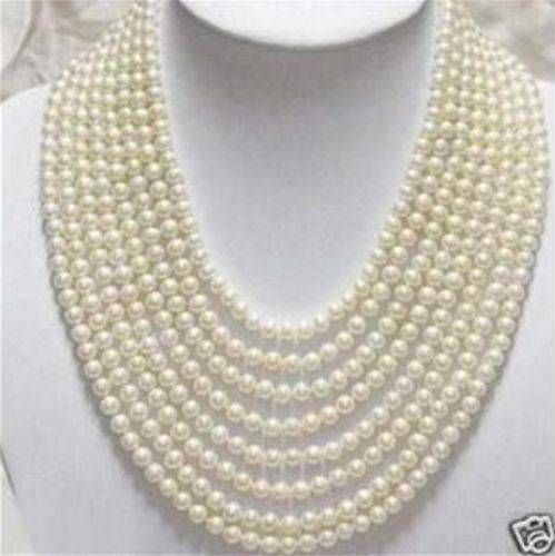 wholesale Beautiful 8 Rows 6-7mm White Freshwater Pearl Necklace