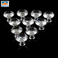 AOTU 1pack 10 Pcs 30mm Diamond Shape Crystal Glass Drawer Cabinet Knob Pull Handle Kitchen Door