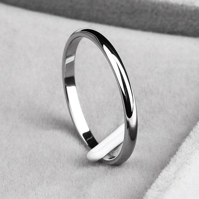 פשוט 2 MM דק טיטניום פלדה 4 צבע זוג טבעת פשוט אופנה עלה זהב כסף אצבע טבעת עבור נשים חתונה תכשיטי מפלגה