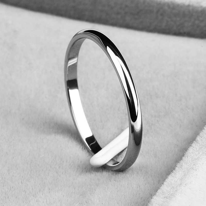 Đơn giản 2 MM Thin Titanium Thép 4 Màu Chiếc Nhẫn Đôi Thời Trang Đơn Giản Rose Gold Bạc Finger Ring Cho Phụ Nữ Cưới đồ Trang Sức bên