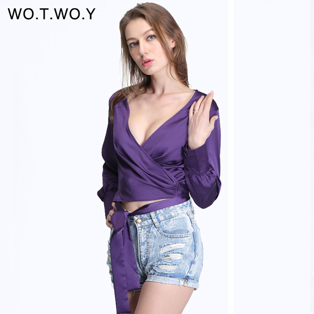 7aeceaa0020be9 Spring Loose Sashes Silk Blouse Women Sexy Deep V-neck Satin Shirt Lantern  Women Long Sleeve ...