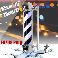LED Barber Shop Sign Pole Light Black White Blue Stripe Design Roating Salon Wall Hanging Light Lamp Beauty Salon Lamp