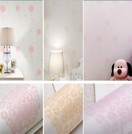 Kids girl wallpaper dandelion pattern texture wall paper for Bedroom wallpaper texture