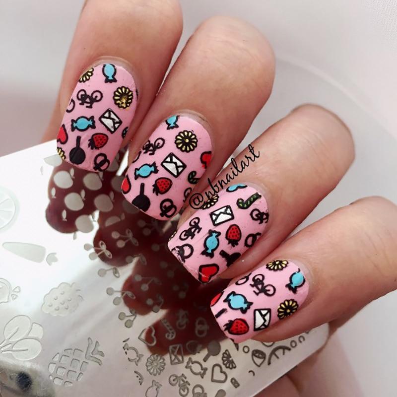 BORN PRETTY 6*6cm Square Nail Stamping Plates Fruit Design Cherry Nail Art  Stamp Stamping - Cherry Nail Art Graham Reid