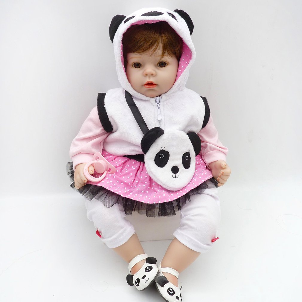 50cm Cloth Body Reborn Baby Dolls With Lovely Panda Clothes Child Gift Soft Silicone Doll Funny Play House Toy Lifelike Dolls