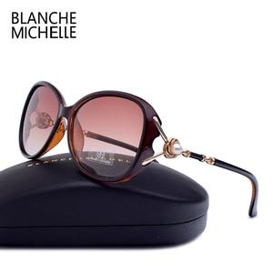 Image 2 - Blanche Michelle 2019 High Quality Polarized Sunglasses Women Brand Designer UV400 Gradient Sun Glasses Pearl oculos With Box