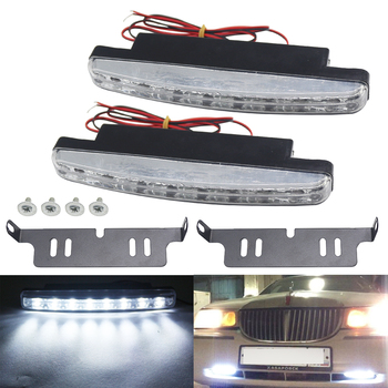 цена на 1 pair DRL LED Daytime Running Lights 8 LEDs 6000K White Auto Car Fog Lights Driving Light Lamp Car-syling High Quality DC 12V