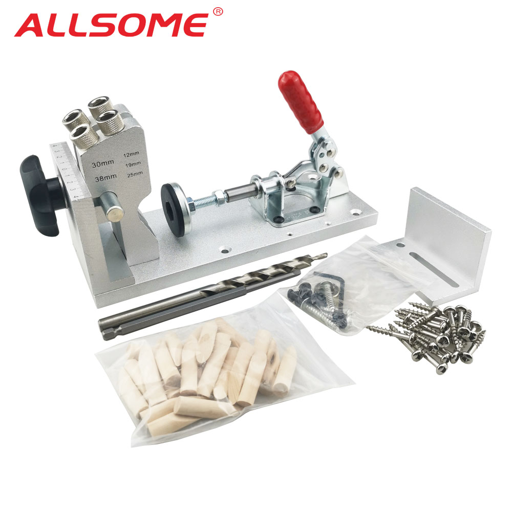 ALLSOME Woodworking Pocket Hole Jig System Guide Carpenter Kit Inclined Hole Drill Tools Camp Base 9.5mm Drill Bit Kit HT174 pocket