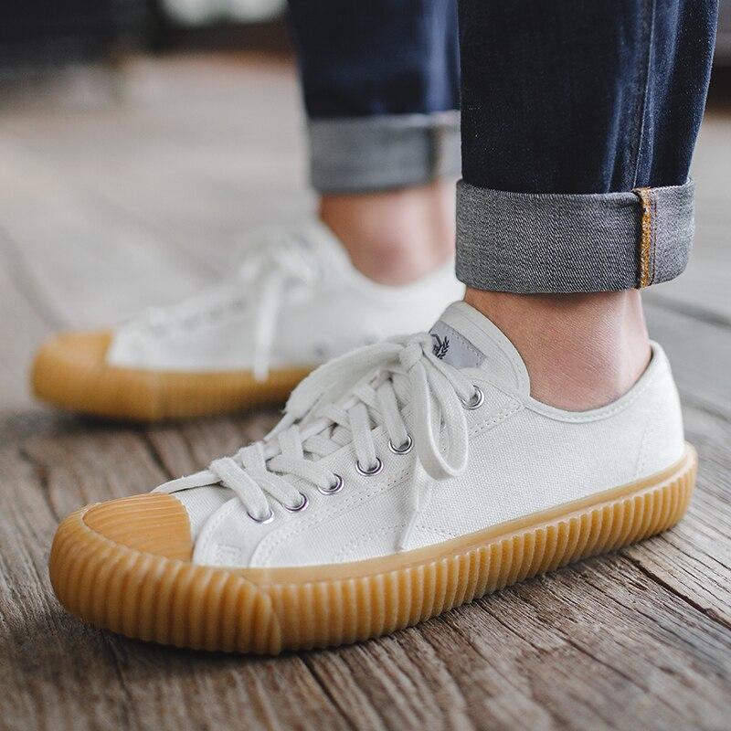 Maden Harajuku Style chaussures en toile pour homme Kurume Vulcanisé Blanc Noir Bleu décontracté Sportif Sneakers Coréenne Tout assorti Bas-top