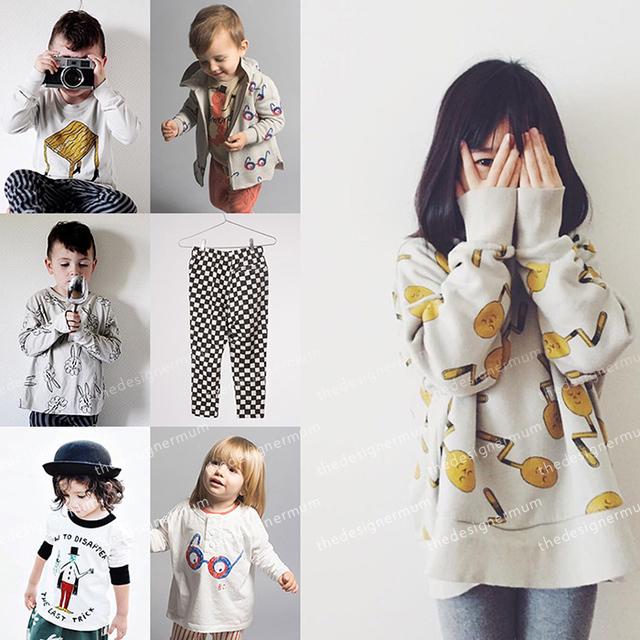 Ins 2017 primavera bobo choses cadeira óculos coelho de manga comprida hoodies camisolas meninos roupa do bebê kids clothing define baracelo