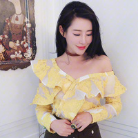 Ladies Spring Long Sleeve Women Blouses 2018 Self Portrait Embroidery Yellow Ruffle Frills Shirts Off Shoulder Lace Sheer Tops