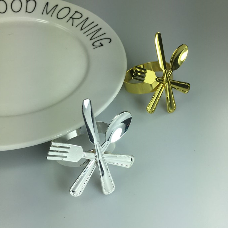 5PCS napkin ring gold and silver creative style cutlery buckle wholesale hotel supplies tableware